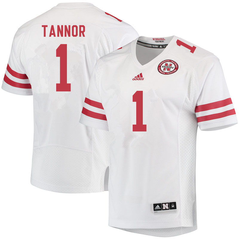 Men #1 Caleb Tannor Nebraska Cornhuskers College Football Jerseys Sale-White