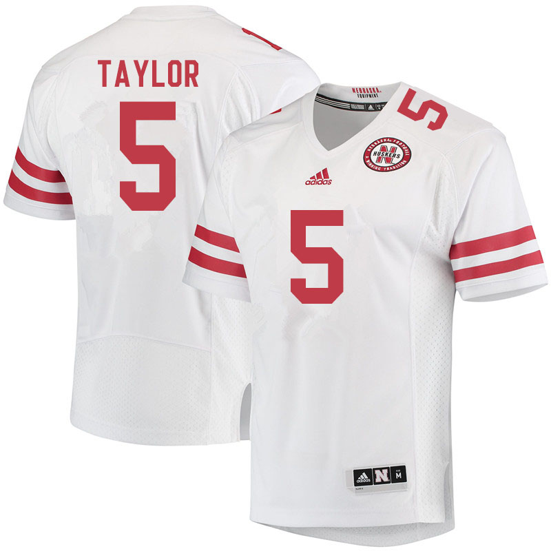 Men #5 Cam Taylor Nebraska Cornhuskers College Football Jerseys Sale-White
