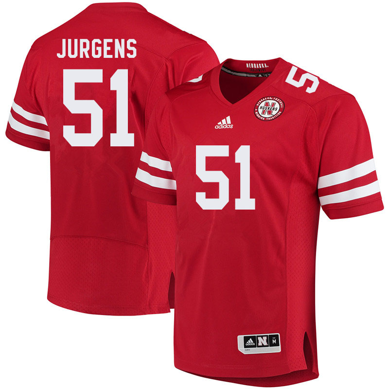 Men #51 Cameron Jurgens Nebraska Cornhuskers College Football Jerseys Sale-Red