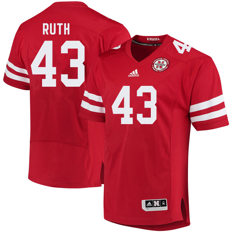 Men #43 Connor Ruth Nebraska Cornhuskers College Football Jerseys Sale-Red