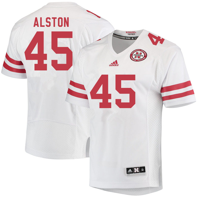 Men #45 David Alston Nebraska Cornhuskers College Football Jerseys Sale-White