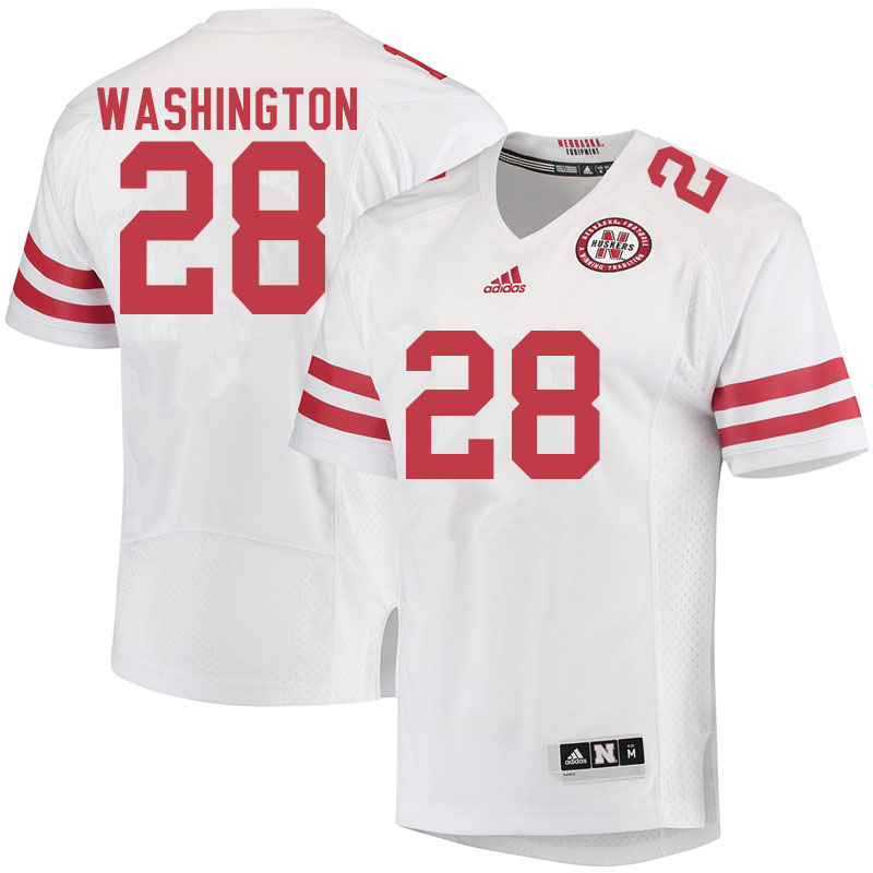 Men #28 Maurice Washington Nebraska Cornhuskers College Football Jerseys Sale-White