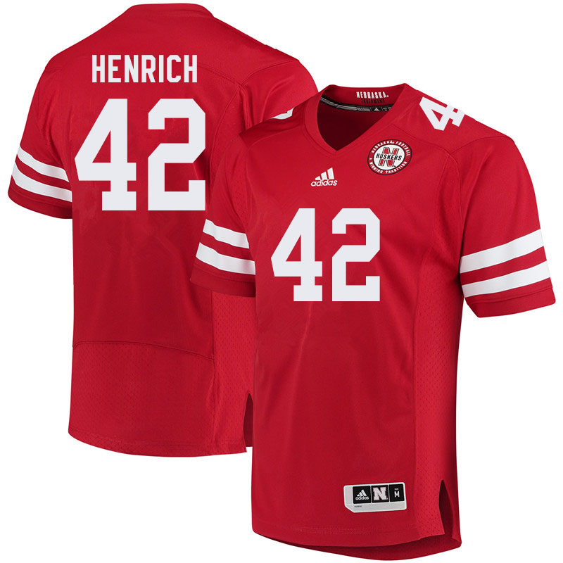 Men #42 Nick Henrich Nebraska Cornhuskers College Football Jerseys Sale-Red
