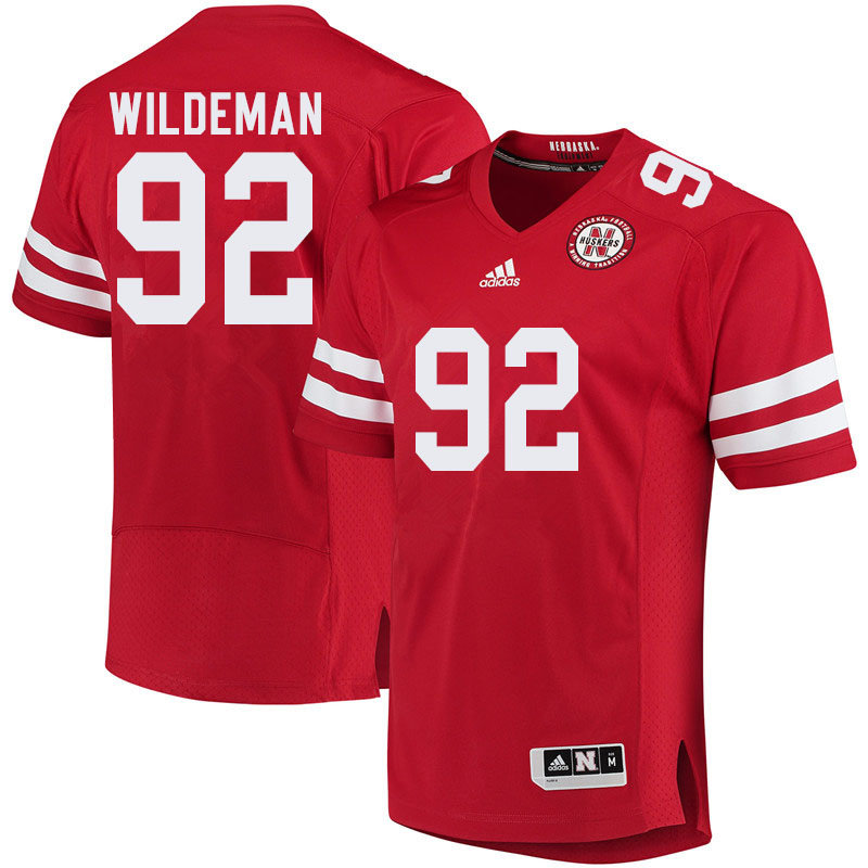 Men #92 Tate Wildeman Nebraska Cornhuskers College Football Jerseys Sale-Red