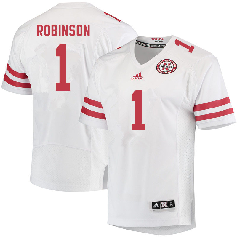 Men #1 Wan'Dale Robinson Nebraska Cornhuskers College Football Jerseys Sale-White