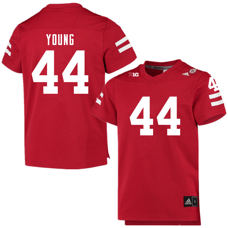 Men #44 Aiden Young Nebraska Cornhuskers College Football Jerseys Sale-Scarlet