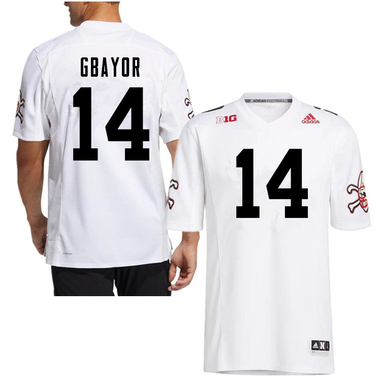 Men #14 Mikai Gbayor Nebraska Cornhuskers College Football Jerseys Sale-White Strategy