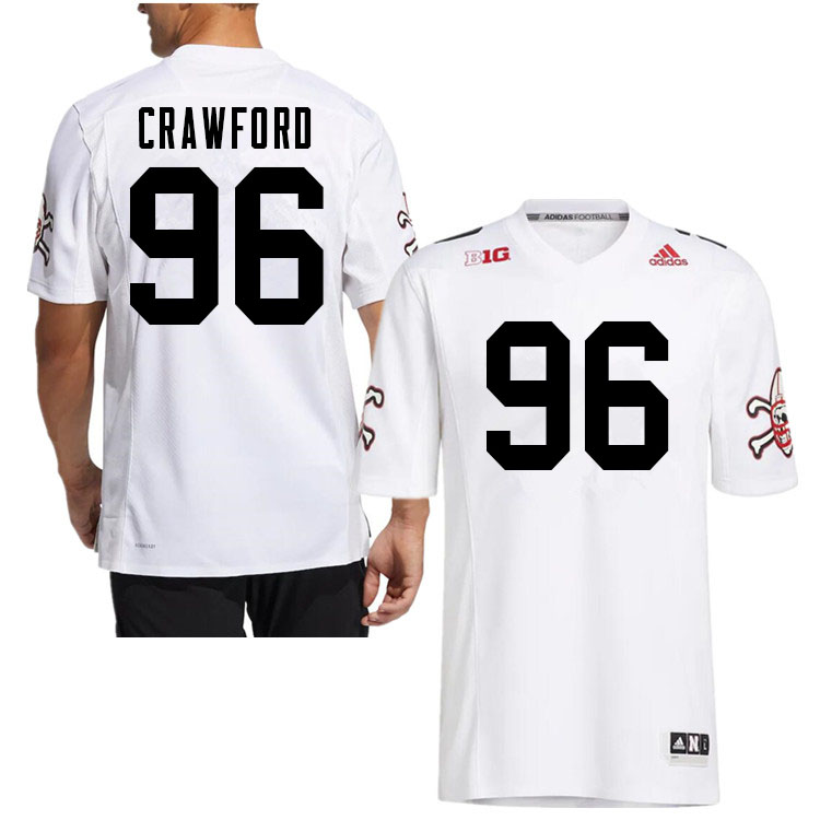 Men #96 Tyler Crawford Nebraska Cornhuskers College Football Jerseys Sale-White Strategy
