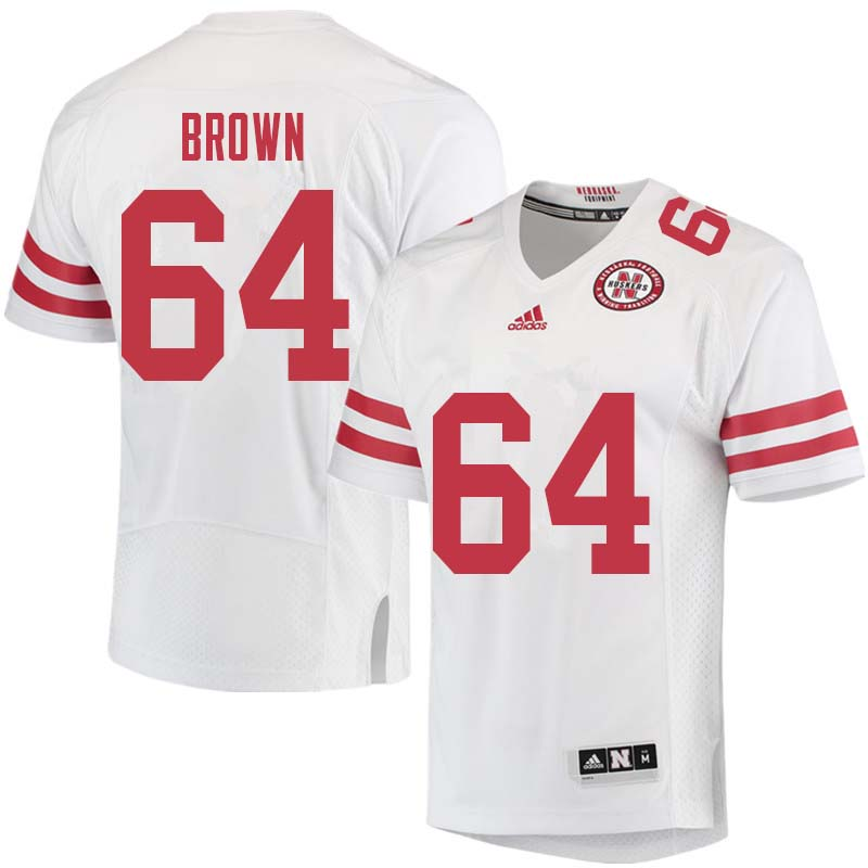 Men #64 Bob Brown Nebraska Cornhuskers College Football Jerseys Sale-White