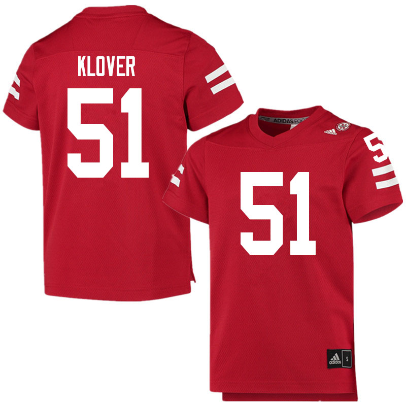 Men #51 Braden Klover Nebraska Cornhuskers College Football Jerseys Sale-Scarlet