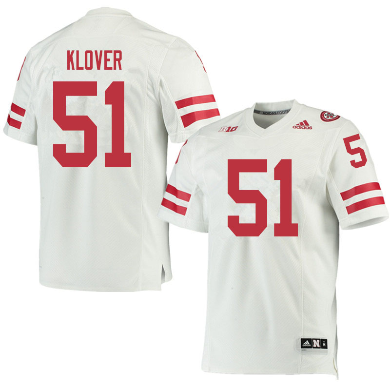 Men #51 Braden Klover Nebraska Cornhuskers College Football Jerseys Sale-White