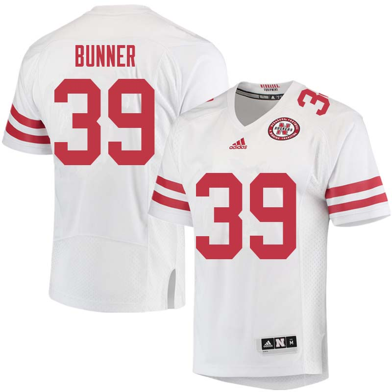 Men #39 Bradley Bunner Nebraska Cornhuskers College Football Jerseys Sale-White