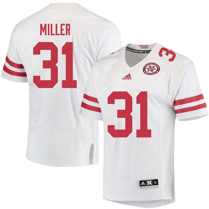 Men #31 Collin Miller Nebraska Cornhuskers College Football Jerseys Sale-White