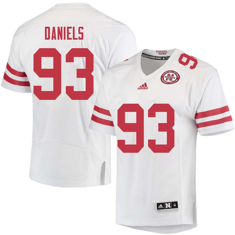Men #93 Damion Daniels Nebraska Cornhuskers College Football Jerseys Sale-White
