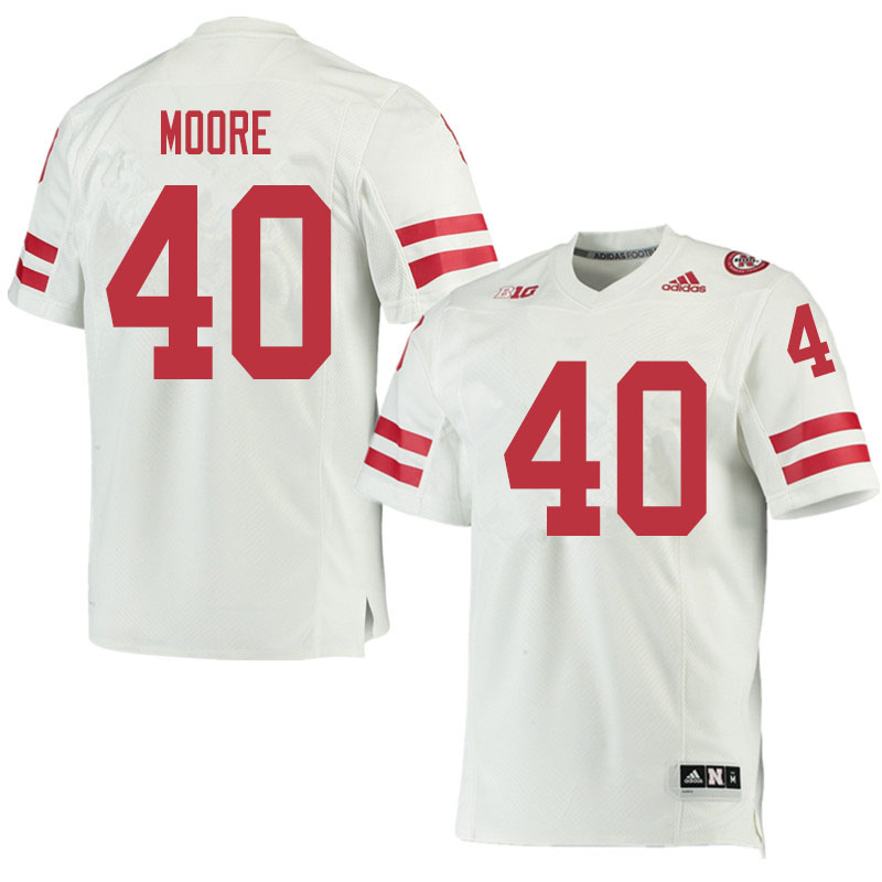 Men #40 Darius Moore Nebraska Cornhuskers College Football Jerseys Sale-White