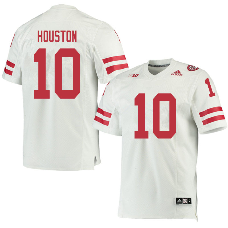 Men #10 Demariyon Houston Nebraska Cornhuskers College Football Jerseys Sale-White