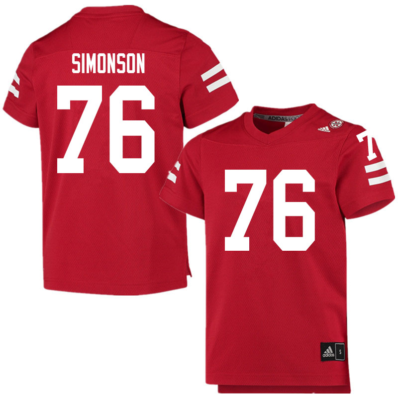 Men #76 Eli Simonson Nebraska Cornhuskers College Football Jerseys Sale-Scarlet