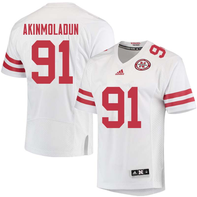 Men #91 Freedom Akinmoladun Nebraska Cornhuskers College Football Jerseys Sale-White