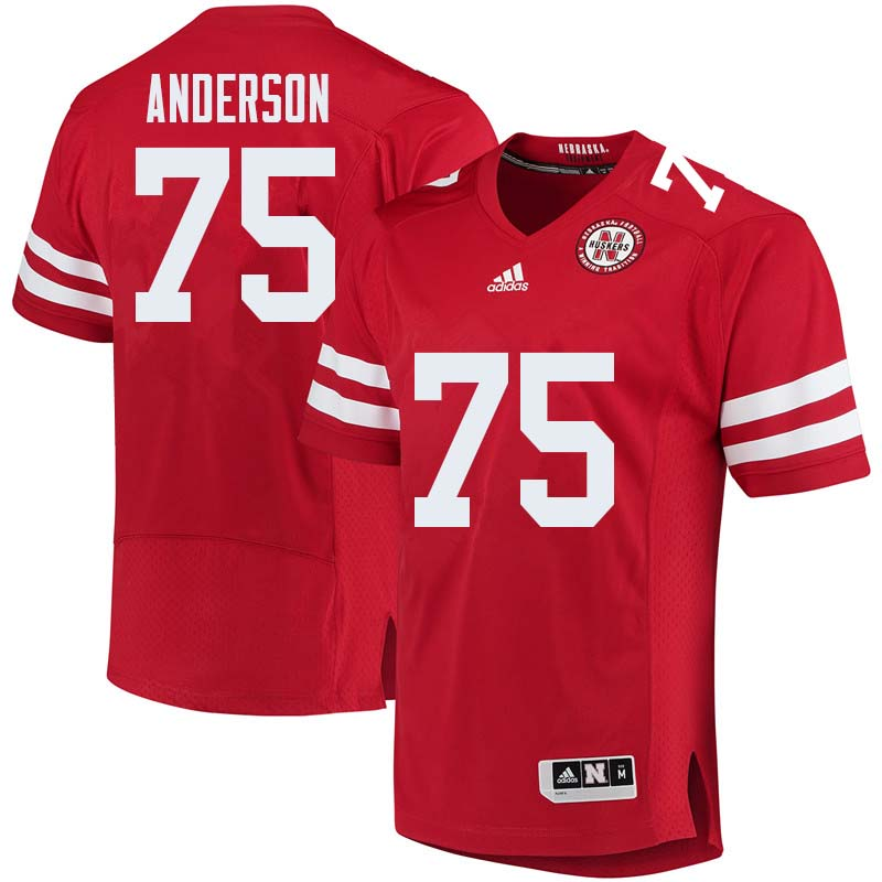 Men #75 Fyn Anderson Nebraska Cornhuskers College Football Jerseys Sale-Red