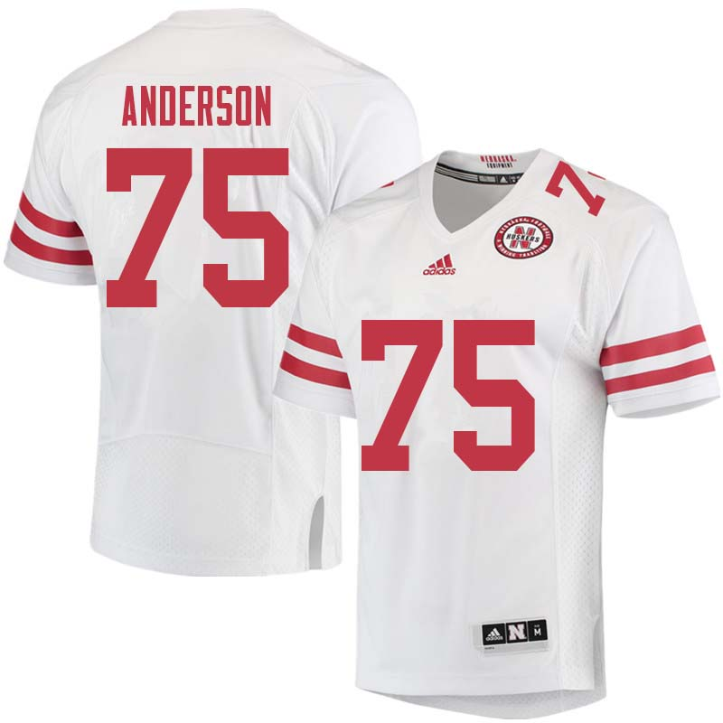 Men #75 Fyn Anderson Nebraska Cornhuskers College Football Jerseys Sale-White