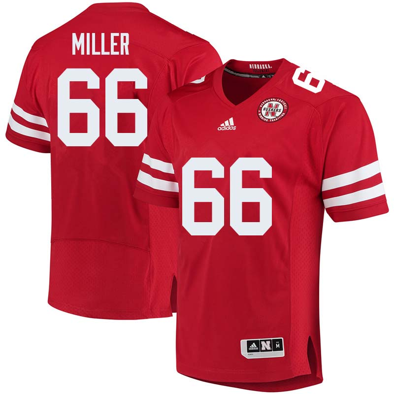 Men #66 Hunter Miller Nebraska Cornhuskers College Football Jerseys Sale-Red