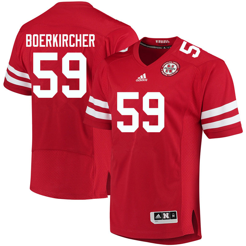 Men #59 Ian Boerkircher Nebraska Cornhuskers College Football Jerseys Sale-Red