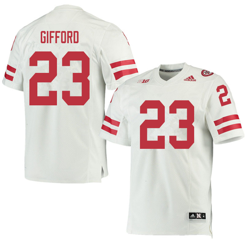 Men #23 Isaac Gifford Nebraska Cornhuskers College Football Jerseys Sale-White