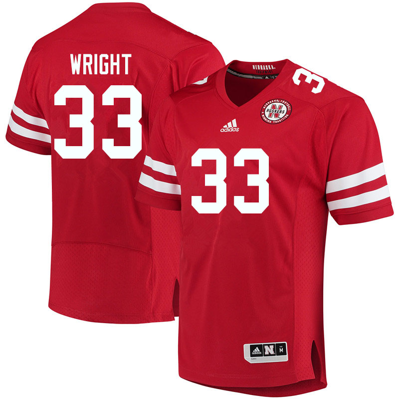 Men #33 Javin Wright Nebraska Cornhuskers College Football Jerseys Sale-Red