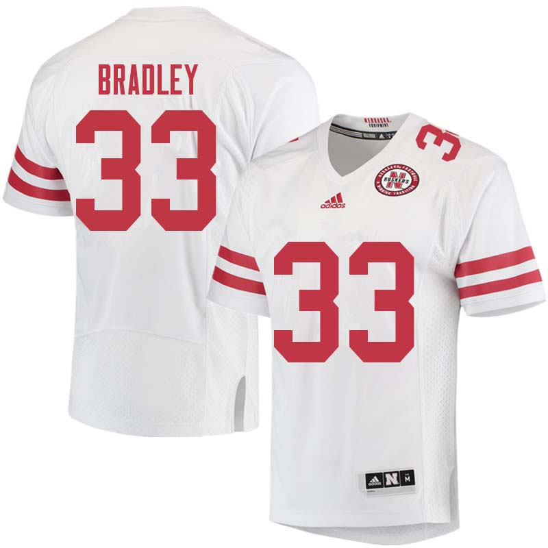 Men #33 Jaylin Bradley Nebraska Cornhuskers College Football Jerseys Sale-White