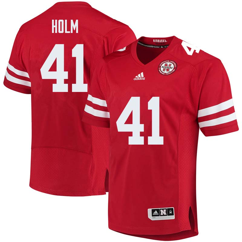 Men #41 Justin Holm Nebraska Cornhuskers College Football Jerseys Sale-Red