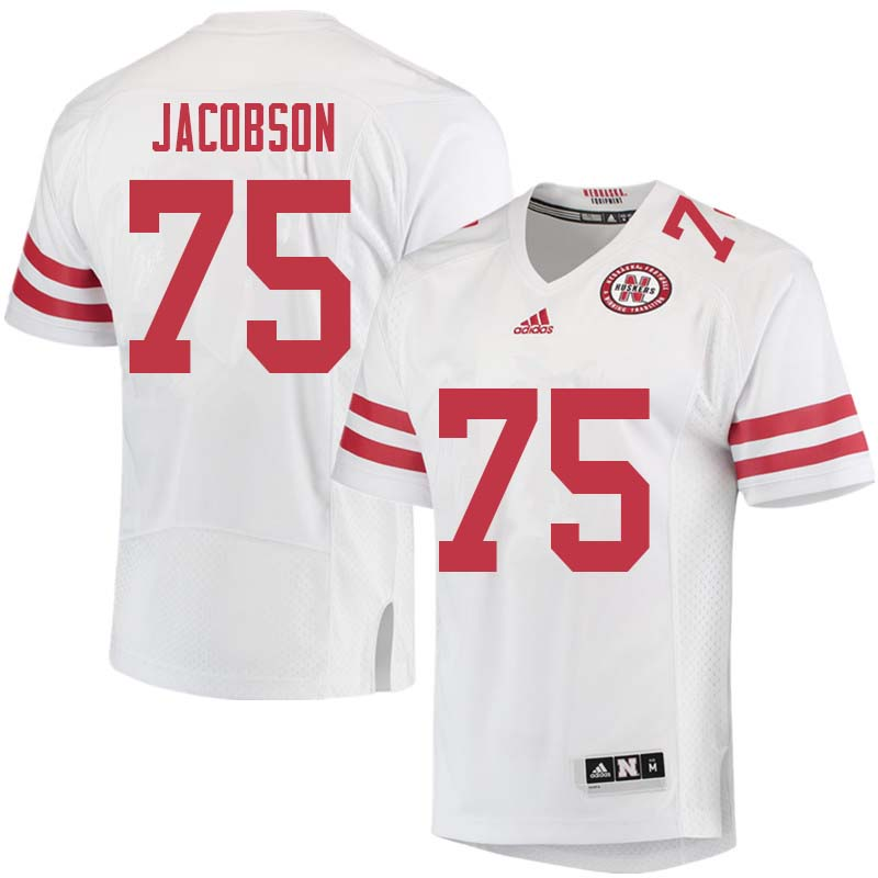 Men #75 Larry Jacobson Nebraska Cornhuskers College Football Jerseys Sale-White