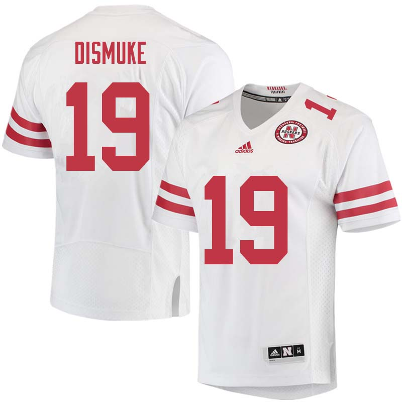 Men #19 Marquel Dismuke Nebraska Cornhuskers College Football Jerseys Sale-White