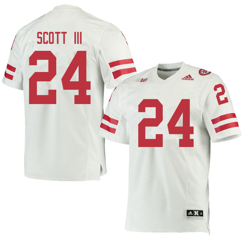 Men #24 Marvin Scott III Nebraska Cornhuskers College Football Jerseys Sale-White