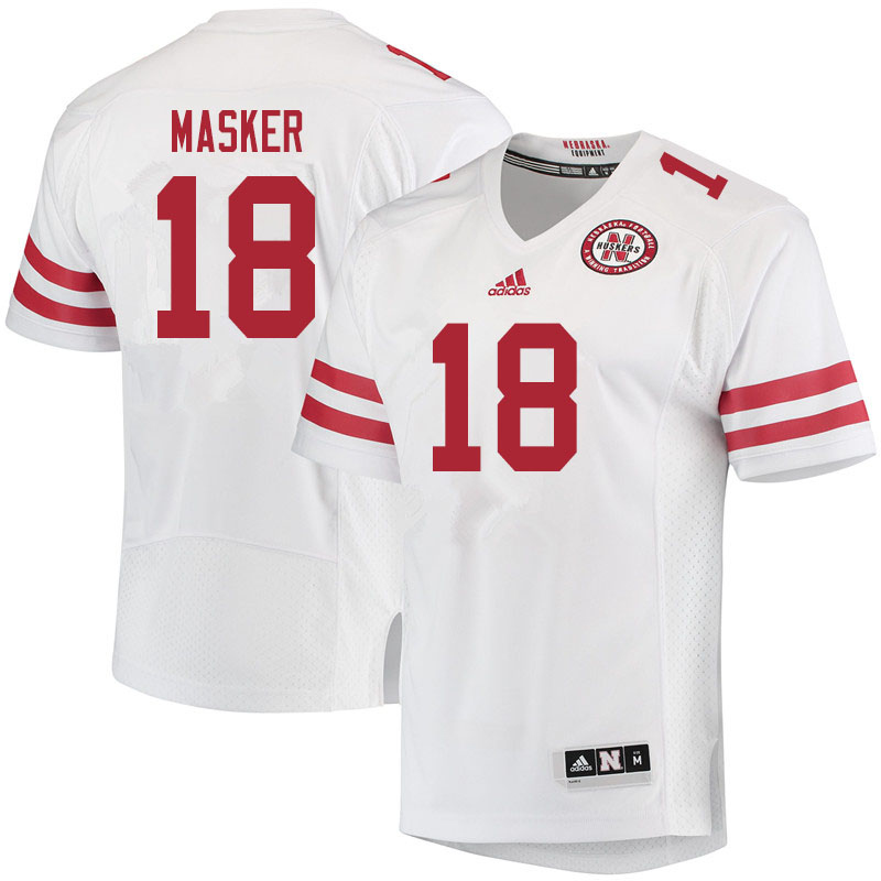 Men #18 Matt Masker Nebraska Cornhuskers College Football Jerseys Sale-White