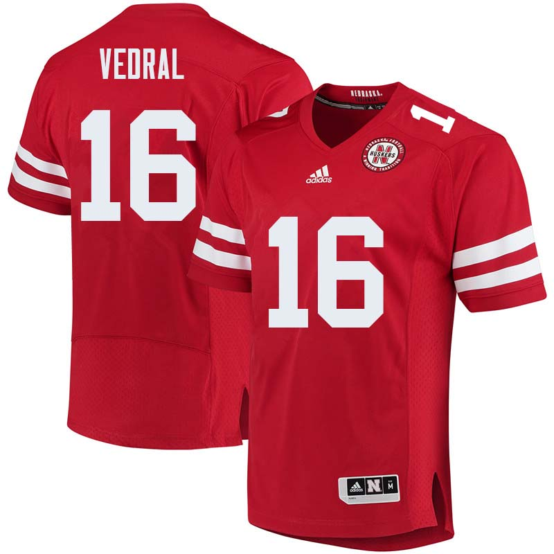 Men #16 Noah Vedral Nebraska Cornhuskers College Football Jerseys Sale-Red