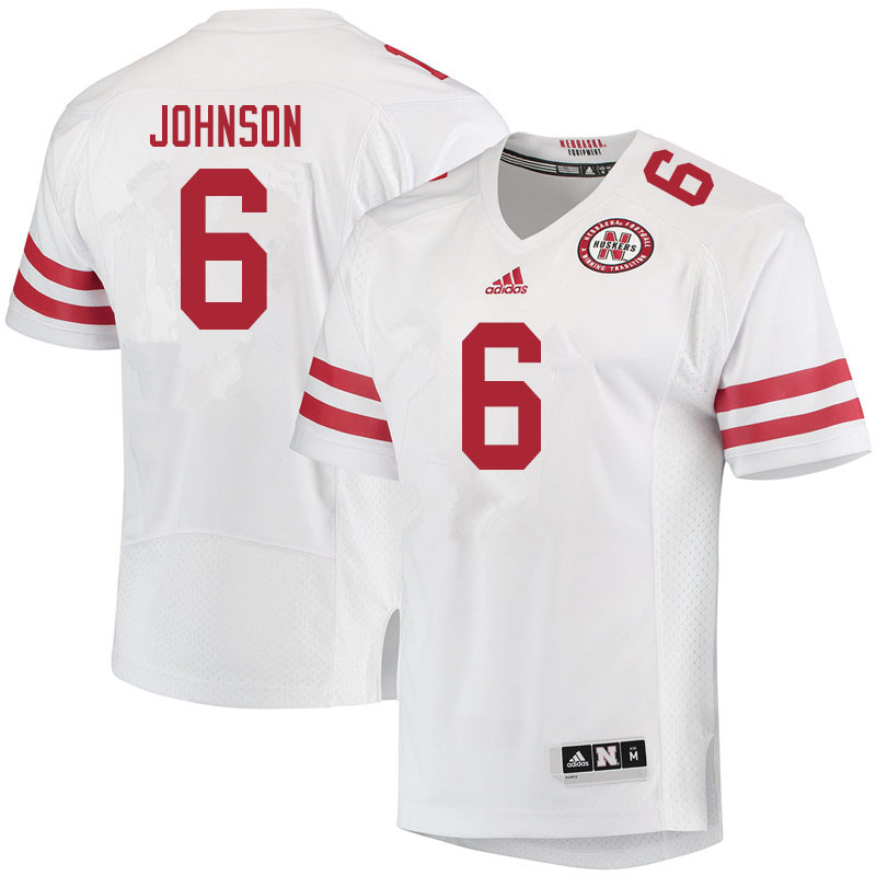 Men #6 Rahmir Johnson Nebraska Cornhuskers College Football Jerseys Sale-White