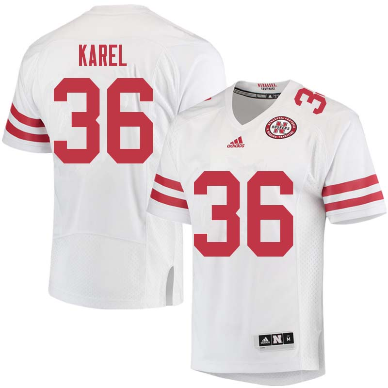 Men #36 Reid Karel Nebraska Cornhuskers College Football Jerseys Sale-White
