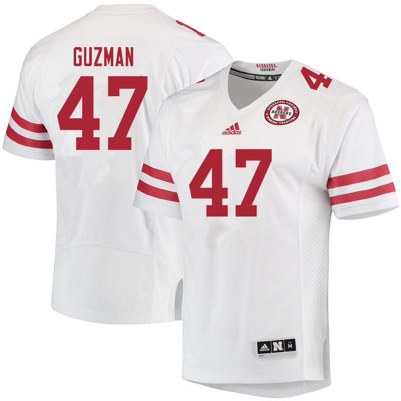 Men #47 Tyson Guzman Nebraska Cornhuskers College Football Jerseys Sale-White