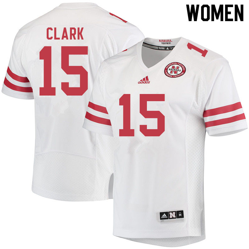Women #15 Braxton Clark Nebraska Cornhuskers College Football Jerseys Sale-White