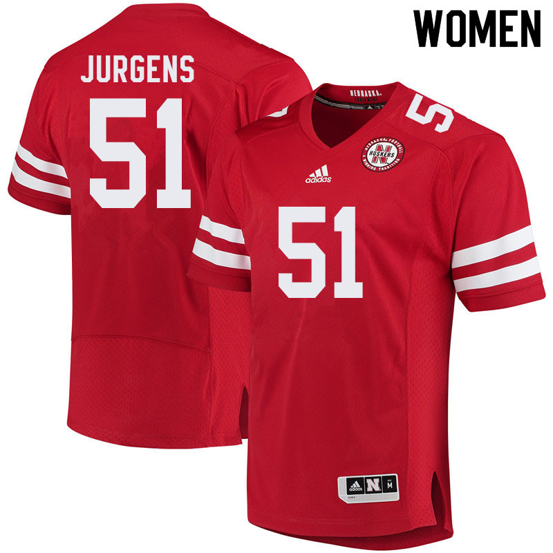Women #51 Cameron Jurgens Nebraska Cornhuskers College Football Jerseys Sale-Red