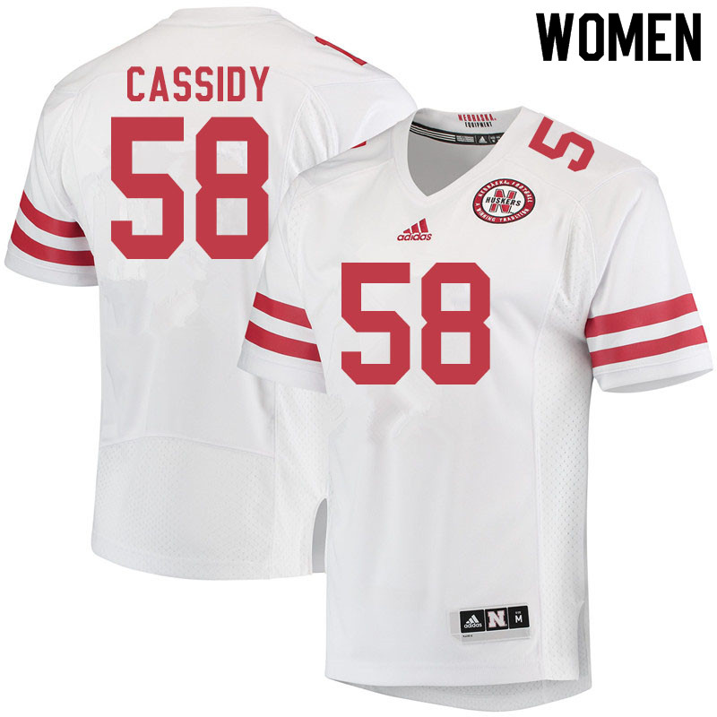 Women #58 Chris Cassidy Nebraska Cornhuskers College Football Jerseys Sale-White