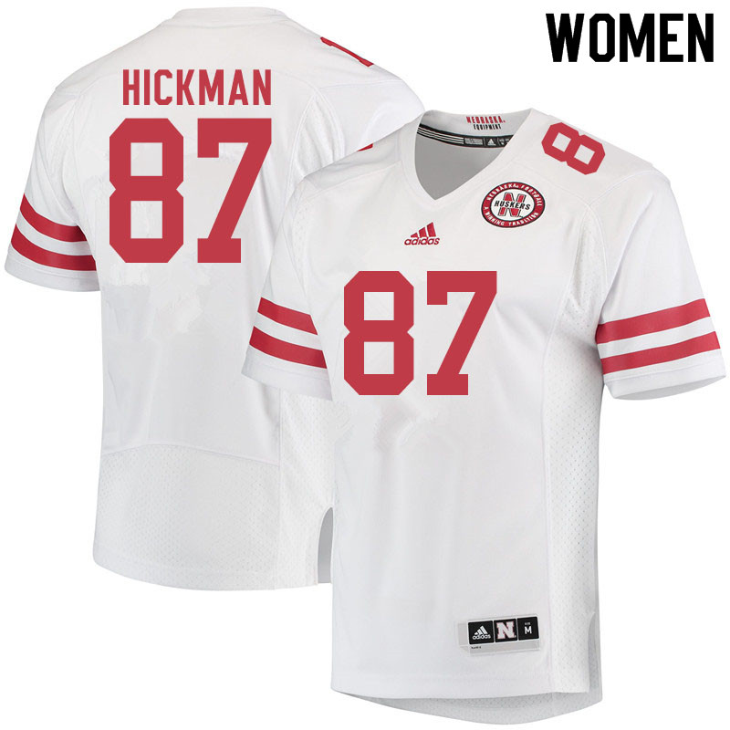 Women #87 Chris Hickman Nebraska Cornhuskers College Football Jerseys Sale-White