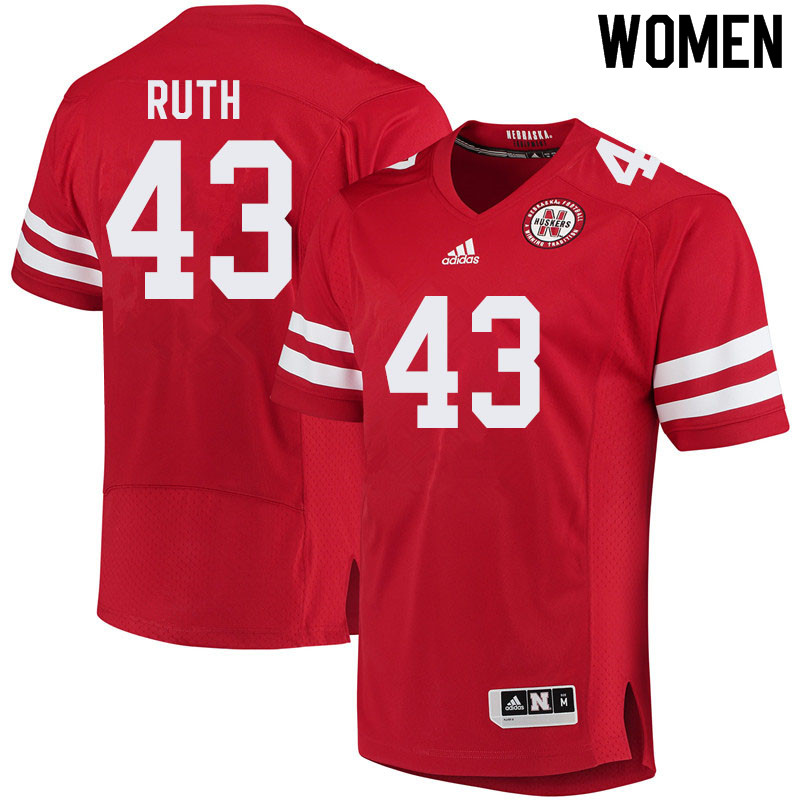 Women #43 Connor Ruth Nebraska Cornhuskers College Football Jerseys Sale-Red