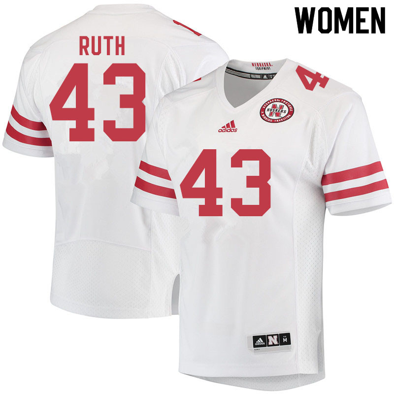 Women #43 Connor Ruth Nebraska Cornhuskers College Football Jerseys Sale-White