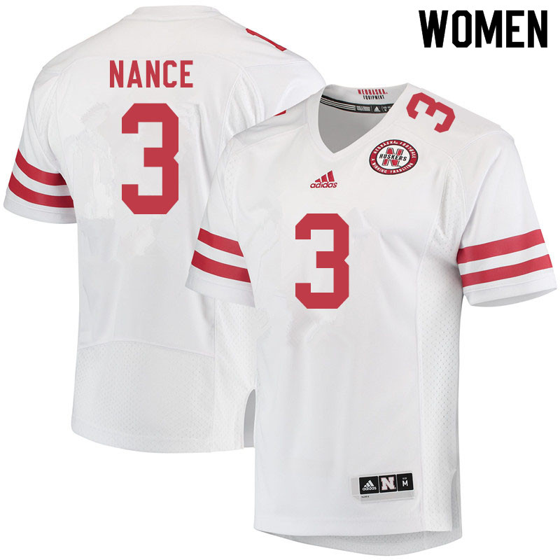 Women #3 Jamie Nance Nebraska Cornhuskers College Football Jerseys Sale-White