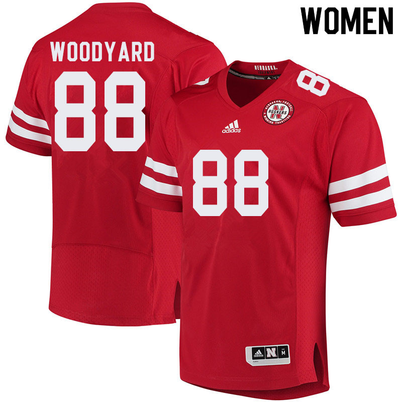Women #88 Jaron Woodyard Nebraska Cornhuskers College Football Jerseys Sale-Red