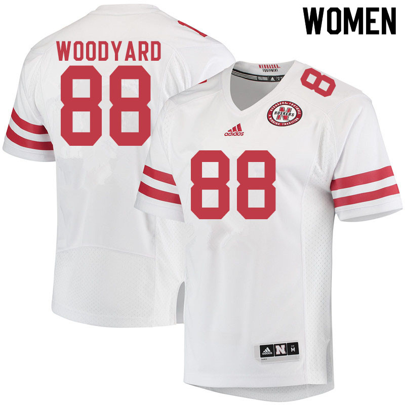 Women #88 Jaron Woodyard Nebraska Cornhuskers College Football Jerseys Sale-White