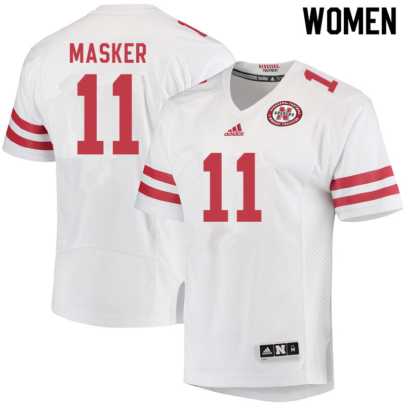 Women #11 Matt Masker Nebraska Cornhuskers College Football Jerseys Sale-White