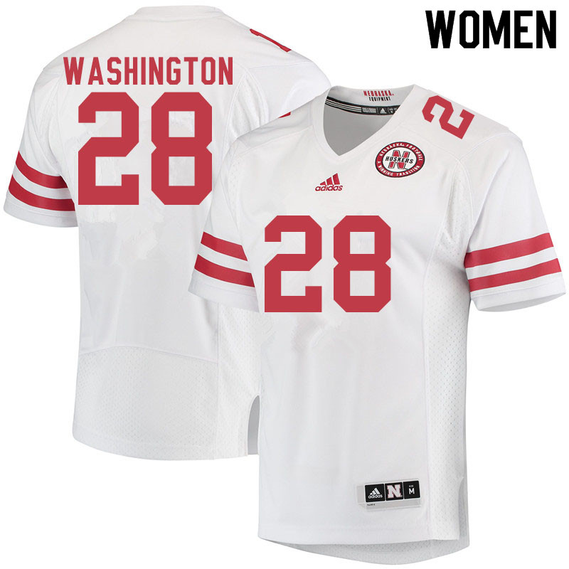 Women #28 Maurice Washington Nebraska Cornhuskers College Football Jerseys Sale-White