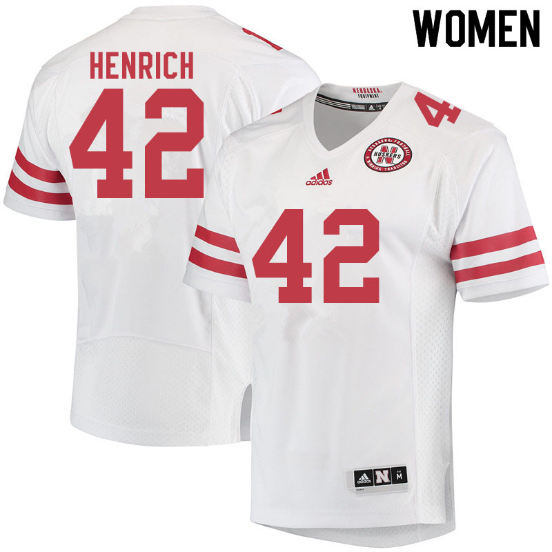 Women #42 Nick Henrich Nebraska Cornhuskers College Football Jerseys Sale-White
